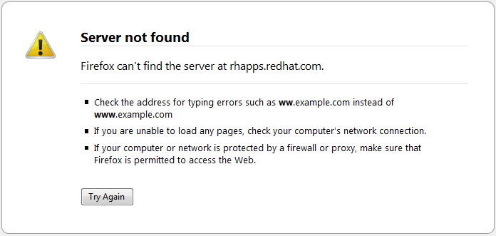 rhapps.redhat.com not found